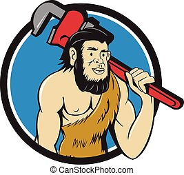 Neanderthal CaveMan Plumber Monkey Wrench Circle Cartoon -...