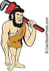 Neanderthal CaveMan Plumber Monkey Wrench Cartoon -...