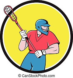 Lacrosse Player Crosse Stick Running Circle Cartoon -...