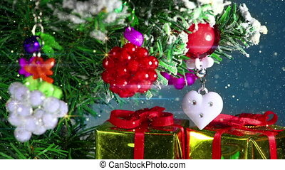 romantic christmas tree decoration close-up loopable -...