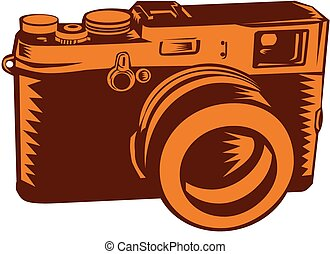 Camera 35mm Vintage Woodcut - Illustration of a camera with...
