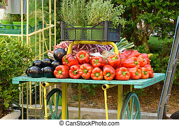 Vegetable chariot - A chariot with colorful vegetable at the...