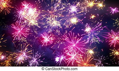 fireworks display with lots of colorful bursts loop -...