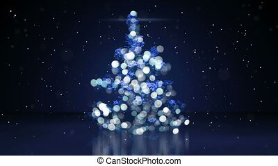 blurry christmas tree with blue lights seamless loop -...