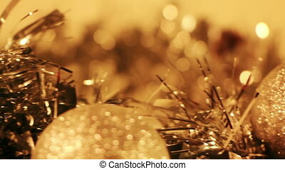 golden christmas decorations close-up