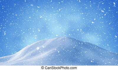 beautiful snow drifts and snowstorm background loop
