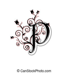 Capital letter P - Black capital letter with flowers and...