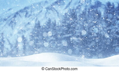 fairy snowfall abstract christmas background loop