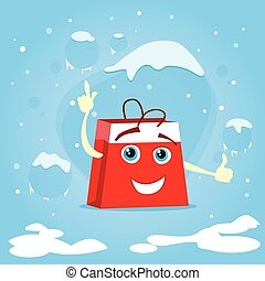 Red Shopping Bag Cartoon Character Show Point Finger Up...