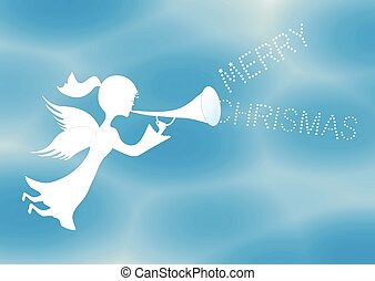 Merry Christmas angel - Vector background with flying angel...