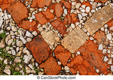 Stone rubble underfoot Grunge background texture - Building...