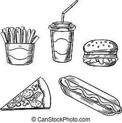 Pizza, burger, french fries, hot dog and soda