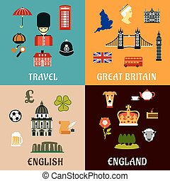 Great Britain travel landmarks flat icons - Architectural...