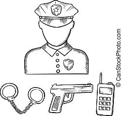 Policeman with handcuffs and gun sketches - Policeman...