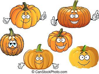 Cartoon isolated orange pumpkin vegetables