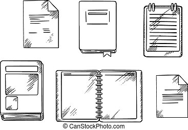 Book, notebook, notepad and diary sketches - Book, open...