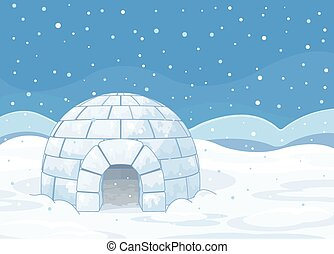 Igloo - Illustration of an igloo on winter background