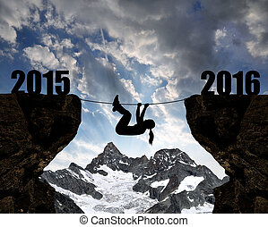 Concept New Year 2016 - Girl climbs through the abyss into...