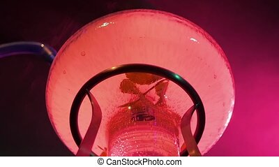 Abstract purple Hookah on the table, lighting, slow motion -...