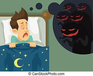Man and nightmare Vector flat illustration