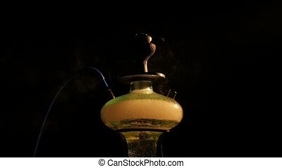 Water pipe hookah with smoke, slow motion - Water pipe...