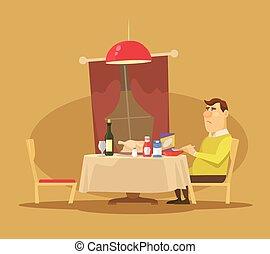 Single man. Vector flat illustration