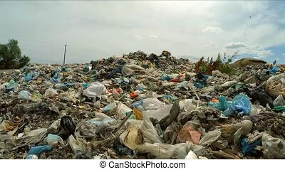 Huge Dump Of Garbage At Landfill In Ukraine - Camera is...