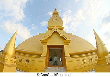 Golden pagoda mahamongkol bua in roiet  Thailand
