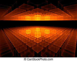fiery red geometrical hi tech perspective stretching off to...