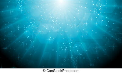 Abstract blue sparkling video animation with beams -...