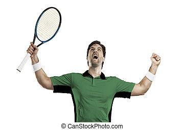 Tennis Player. - Tennis player with a green shirt,...