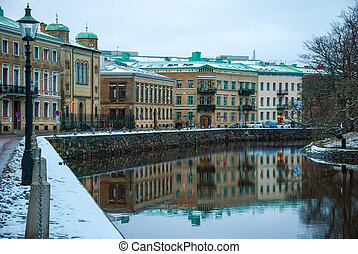Water canal in Gothenburg in winter, Sweden - Water canal in...