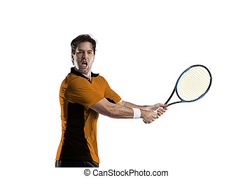 Tennis Player - Tennis player with a orange shirt, playing...