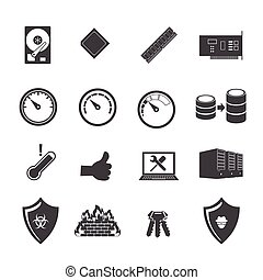 Big data icons set, Computer device and hardware