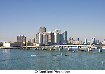 Bridge and Boats in Biscayne Bay - Boats sailing under a...
