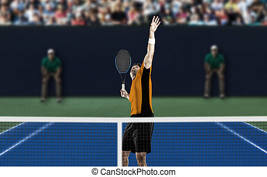 Tennis Player. - Tennis player with a orange shirt, playing...