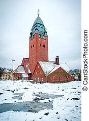 Masthugg church in winter, Gothenburg, Sweden, HDR photo