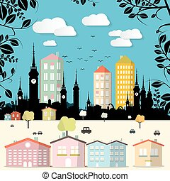 Abstract Paper Cut Flat Design City Vector Illustration