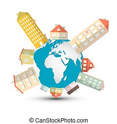 Housing Development Vector Illustration with Houses on Globe - Earth
