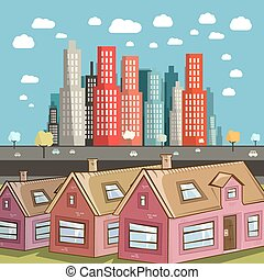 Flat Design City Vector Illustration with Houses