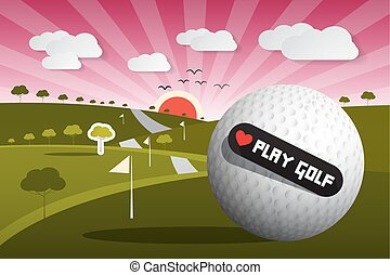 Golf Ball Vector Illustration on Field with Sun and Sky and...