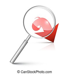 Magnifying Glass with Red Arrow