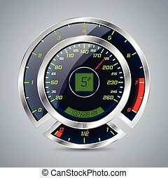 Metallic speedometer with big rev counter - Shiny metallic...