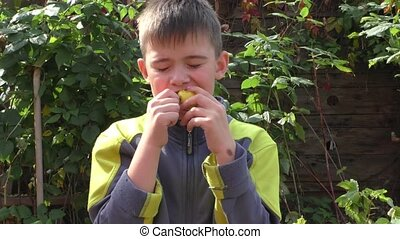 The boy eats an apple with greater appetite