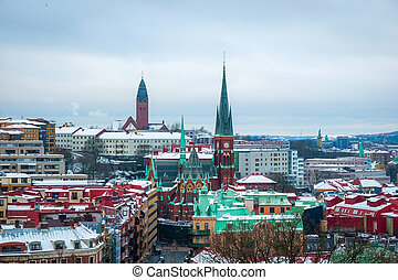 View over Gothenburg in winter, Sweden - View over...