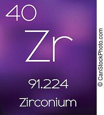 Purple Background with the Element Zirconium