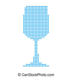 Blue Mosaic Icon Isolated on a White Background - Wine Glass