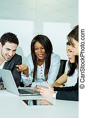 Exchange of thoughts during a business brainstorming by cheerful people