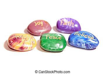 cinco, afirmación, piedras