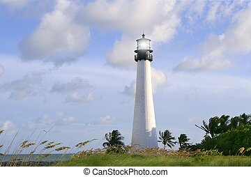 Lighthouse in Key Biscayne Florida sunset blue sky